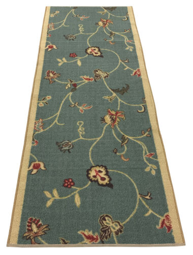 """Custom Size Runner Rug Floral Teal Blue Non Skid Customize Rug Runners 26"""" Width"""