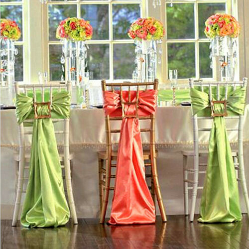 19 Colors Optional 6*106 Inch 25/50/100 PCS Satin Chair Sashes For Wedding Party