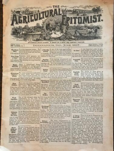 Antique Farming Publication Agricultural Epitomist June 1897 Indianapolis