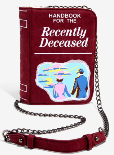 Beetlejuice Handbook For The Recently Deceased Book Style Crossbody Bag W/ Chain