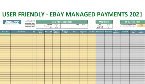 2021 Ebay Managed Payments Monthly Tracker - Excel Spreadsheet - Email Delivery