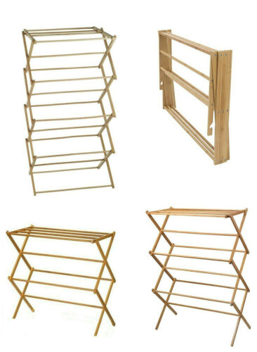 Classic 2, 3, 4 Tier Bamboo Vintage Traditional Wooden Folding Clothes Airer Horse