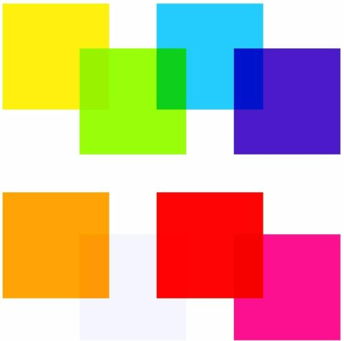 8x8 Inch (Pack of 104), Clear, Blue, Pink, Purple, Red, Orange, Yellow, Green