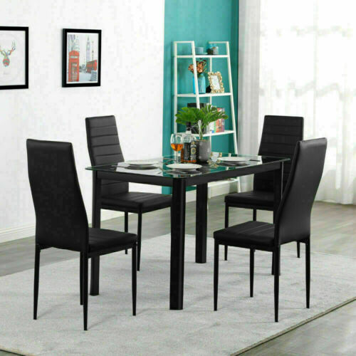 4Piece PU Leather Chair Dinner Table Set Kitchen Dining Room Breakfast Furniture