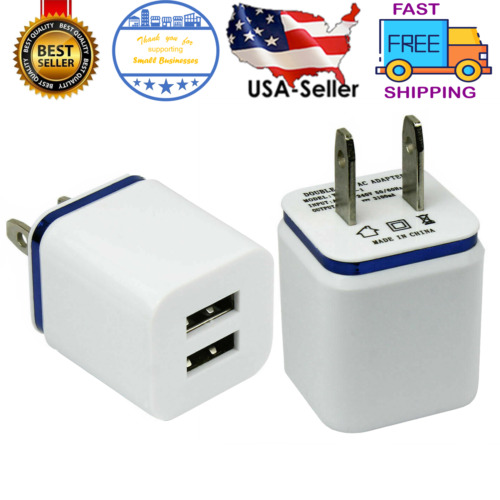 2-PORT Wall Charger Power Adapter Dual Port Fast Charging Cube for iPad iPhone