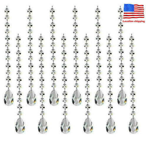 12PC Clear Suncatcher Crystal Octagon Chain Chandelier Hanging Fengshui Prism
