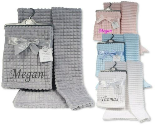 Baby Girl Boy Personalised Blanket Embroidered Name new SQUARE design