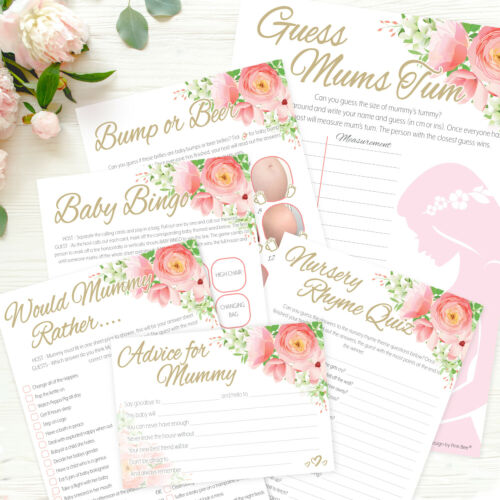 FLORAL BABY SHOWER GAMES Pink Girls party, Bingo, Labour, Scramble, Predictions