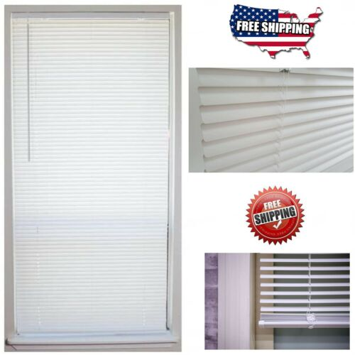 """Cordless 1 in. Vinyl Mini Blinds Window Shade 72"""" Length All Size Width Indoor"""