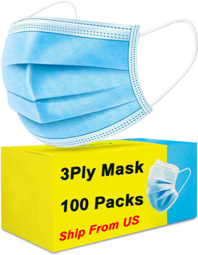 100 PCS Blue Face Mask Mouth & Nose Protecting Families Easy Safe with Filter