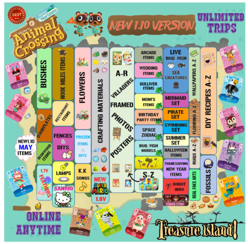 NEW 1.11 Updated Animal Crossing Treasure Island 1/2/3 Hrs Unlimited Trips Loot