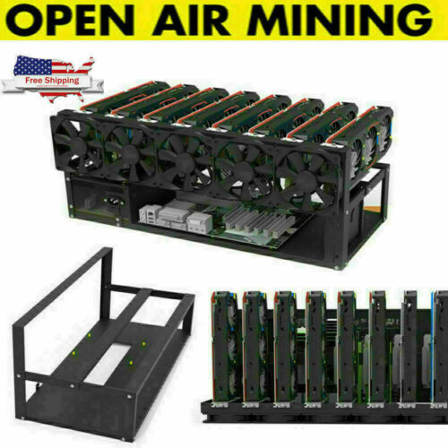 8 GPU Mining Rig Open Air Frame Miner Case For Crypto Coin ETH BTC Ethereum USA
