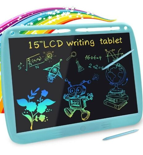 Kids Drawing Tablet, LCD Writing Tablet 15in Toddler Scribble Board - Blue