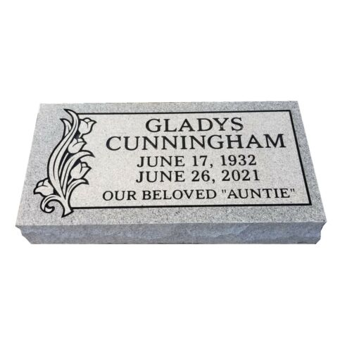 Cemetery headstone bevel 24x12x6 includes engraving 100% granite free shipping