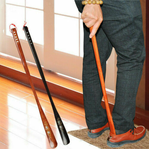 """Extra Long Handle Shoe Horn wooden 21"""" Handled Wooden Shoehorn Easy AID Horn USA"""