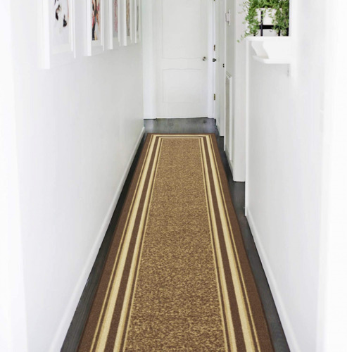 Brown Contemporary Bordered 2 ft x 7 ft Runner Rug Stain Resistant Non-Skid Rug
