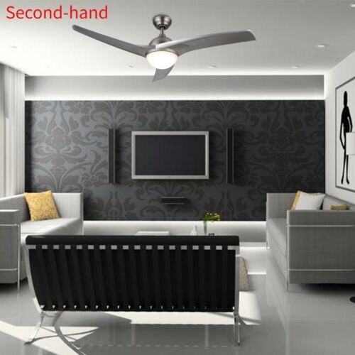 Secondhand Ceiling Fan w/ LED Panel Light&Remote Control Silver Color Blades