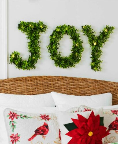 Pre-Lit JOY Greenery Holiday Christmas Home Decor LARGE LETTERS NEW BEAUTIFUL!