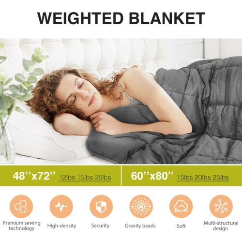 """Weighted Blanket Reduce Stress Promote Deep Sleep 25lb 60X80"""" 42x78'' Cooling"""