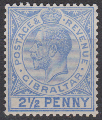 Gibraltar 1921 Mint Mounted 2 1/2d Bright Blue SG94A Cat £650  LARGE 2