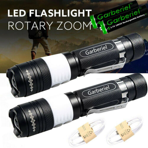 990000Lumens Zoom T6 LED 18650 Tactical Flashlight USB Rechargeable Torch Light