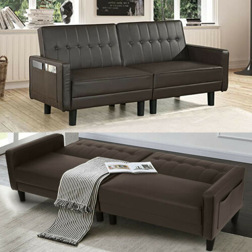 Modern Faux Leather Futon Sofa Bed Convertible Sleeper Sofa Bed Recliner Couches