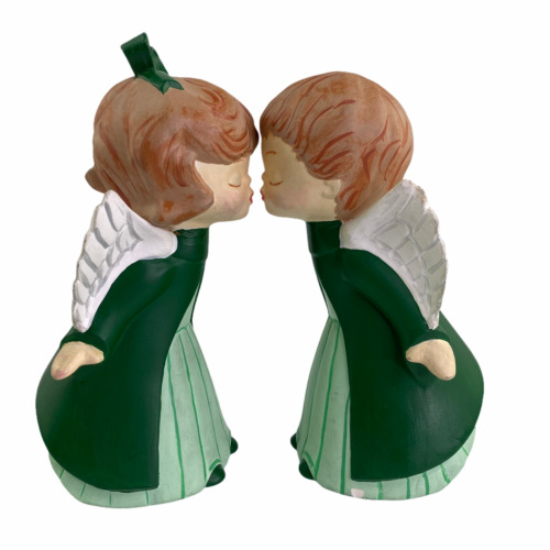 Vintage Hand Painted Plaster Mold Kissing Angels Christmas Décor Figurines