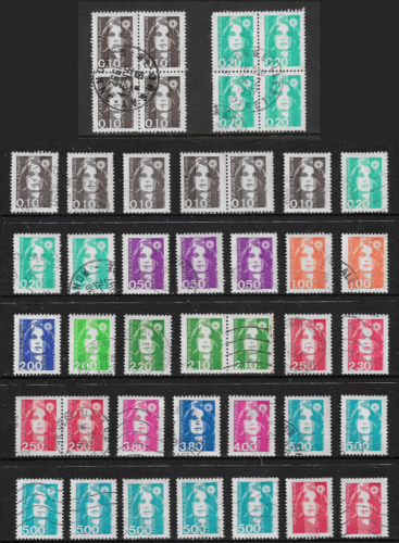 FRANCE 1989+ Marianne, incl joined blocks of 4, used