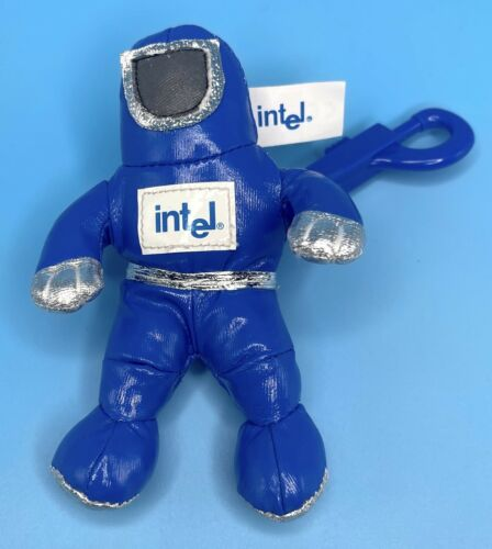 """Intel Spaceman Astronaut Plush Toy with Clip 1997 Blue 5"""""""