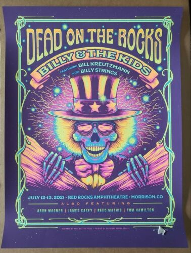 Billy and The Kids Red Rocks Screen Print Poster Signed And Numbered Strings