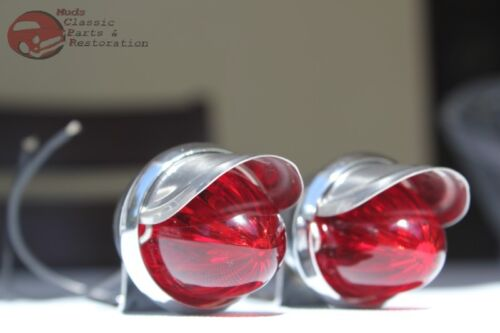 Custom Car Chevy Pickup Truck Chrome Outside Mini Marker Lights Red Lens Hot Rod