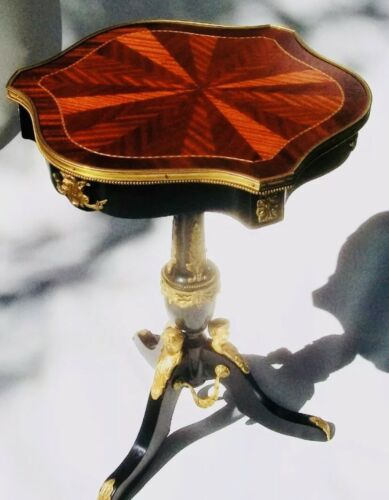 1795 Parquetry Ebonized French Empire Directoire Antique Side Table Tea Table