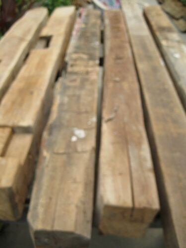 Rustic White Oak Barn Beams,4 Hand Hewn,6-8 Ft. Length,2 Straight Edge-6 beams