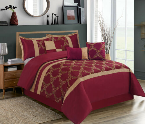 HIG 7 Piece Comforter Set, Taffeta Fabric Embroidered - Claremont Bed in A Bag