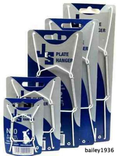 """JES PLATE HANGER WHITE VINYL WIRE CHOICE OF 5 SIZES 3.5"""" - 16"""" JES CO ENGLAND"""