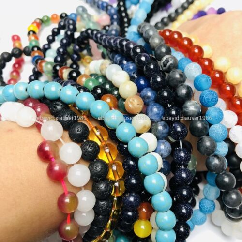 Hot Sale! Natural Gemstone Round Spacer Loose Beads 4MM 6MM 8MM