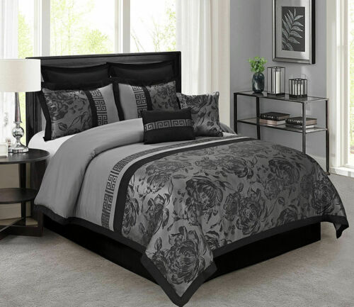 HIG 8 Piece Tang Jacquard Fabric Patchwork Comforter Set Gray - Queen King Size