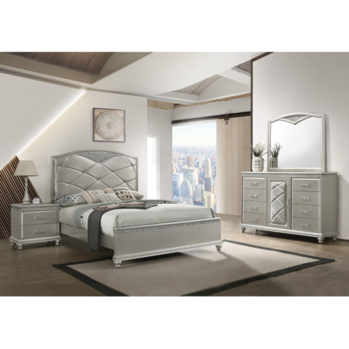 NEW Champagne Silver Queen King 4PC Bedroom Set Modern Glam Furniture Bed/D/M/N