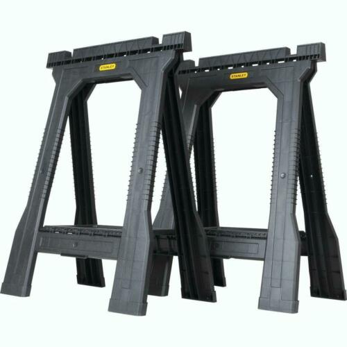 Folding Sawhorse (2 Pack) 22 in. Durable Plastic Stand Holder Tool