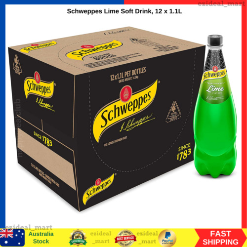 *NEW* Schweppes Lime Soda Soft Drink (12 x 1.1L) AU STOCK | FAST FREE SHIPPING
