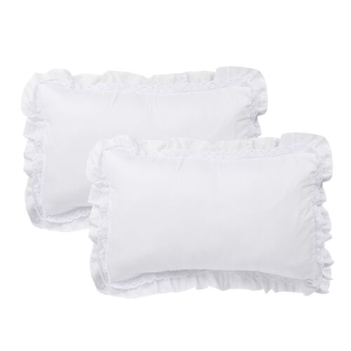 HIG Set of 2 Ruffled Lace Pillow Shams Shabby Chic Rustic Pillow Cases