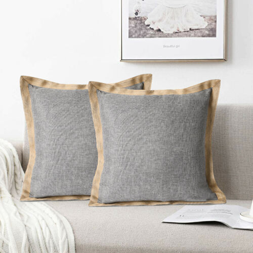 HIG Set of 2 Throw Pillow Covers Farmhouse Burlap Trimmed Cushion Cover 20 X 20