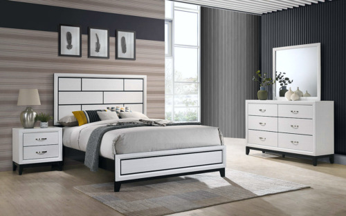 NEW Modern White Queen King Full Twin 4PC Bedroom Set Rustic Furniture Bed/D/M/N