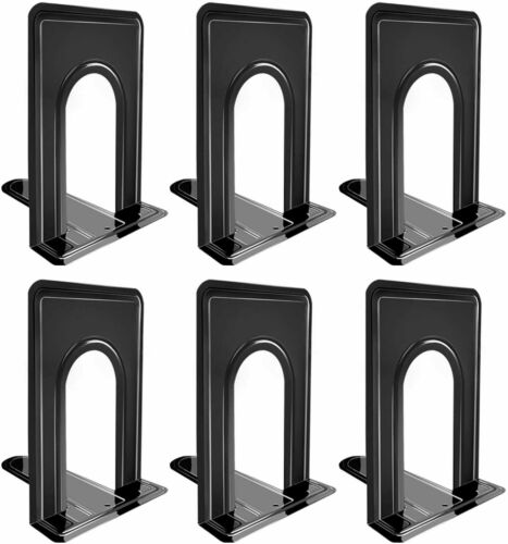 Umikk Bookends, Black Metal Nonskid Bookend Supports for 3 Pairs,