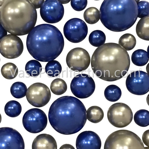 2 Pack FLOATING Silver&Blue Pearls-No Hole Jumbo/Assorted Sizes Vase Decorations