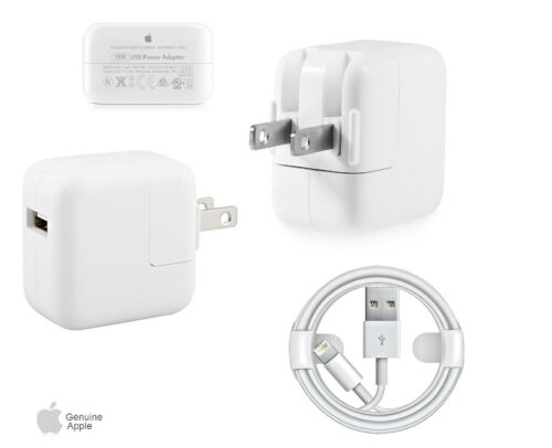 Apple 12W USB Power Adapter Genuine OEM Wall Charger Lightning Cable iPad 2 3 4