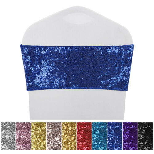 10/25/50 Lot Sparkle Sequin Spandex Stretch Chair Sashes Ribbons Band Banquet
