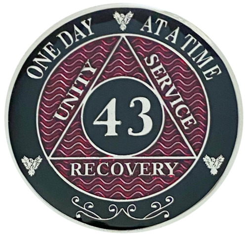43 Year AA Red Coin, Silver Color Plated Medallion, Alcoholics Anonymous Chip