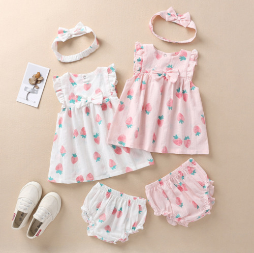 Summer baby suit hair band short skirt shorts 3-piece suit bow dress