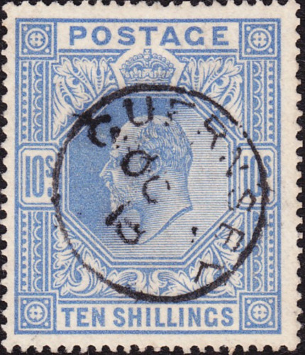 SG 319 10/- Blue M54 (2) Excellent stamp in superb used condition Guernsey CDS.